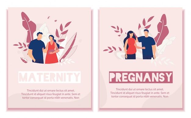 Text banner set annoncer la grossesse et la maternité Vecteur Premium