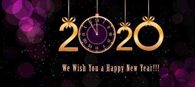 Texte de 2020 happy new year avec numéros doré, noeuds en ruban, horloge vintage sur violet abstrait Vecteur Premium