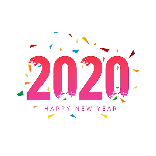 Texte De 2020 Happy New Year Pour Carte De Voeux Vecteur gratuit