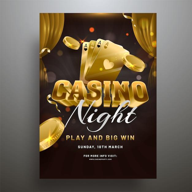 Texte 3d casino avec des pièces d'or et illustration de cartes à jouer sur Vecteur Premium