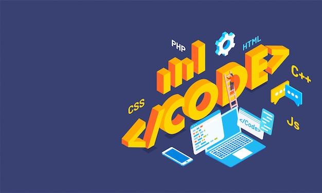 Texte En 3d Code Avec Plusieurs Signes De Langues De Codage. Vecteur Premium