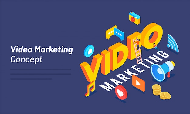 Texte 3d vidéo avec médias sociaux et outils marketing. Vecteur Premium