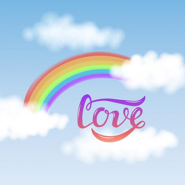 Texte d'amour avec arc-en-ciel isolé sur fond de ciel bleu Vecteur Premium