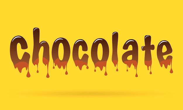 Texte au chocolat sur fond jaune. Vecteur Premium