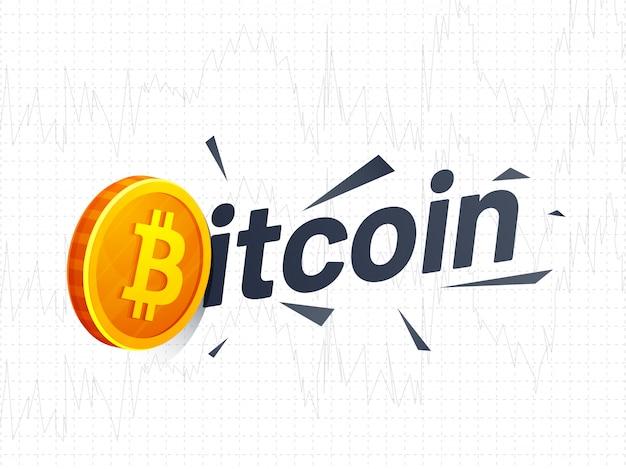 Texte Bitcoin Avec Le Symbole De La Pièce D'or Vecteur Premium