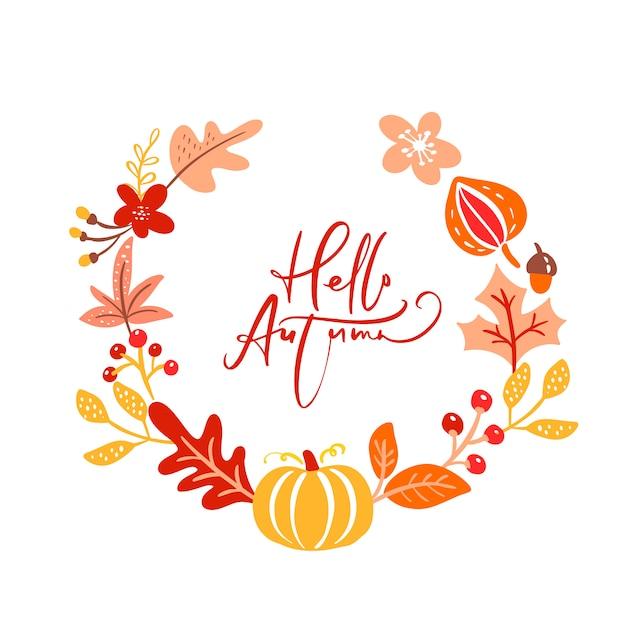 Texte de calligraphie bonjour automne Vecteur Premium