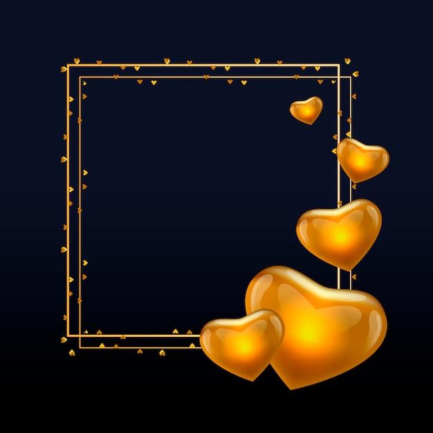 Texte de calligraphie or valentine day avec cadre de couronne de couronne de vecteur doré pour carte de voeux de luxe blanc. Vecteur Premium