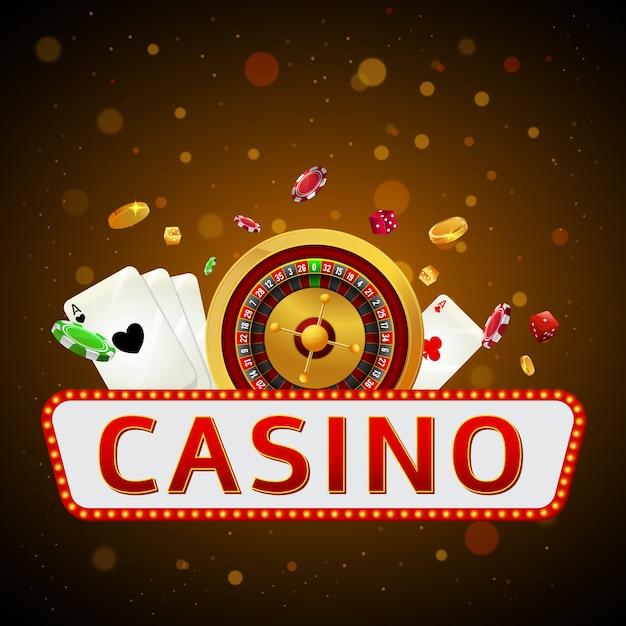 Texte de casino avec roue de roulette. Vecteur Premium