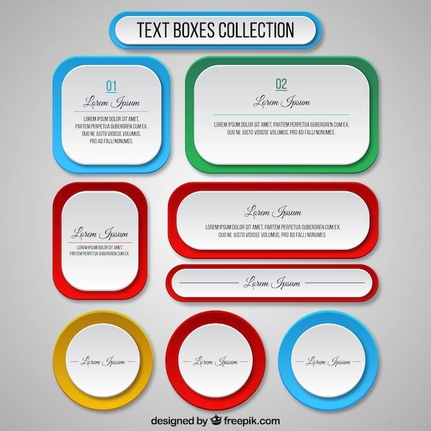 Texte collection boîtes template Vecteur gratuit
