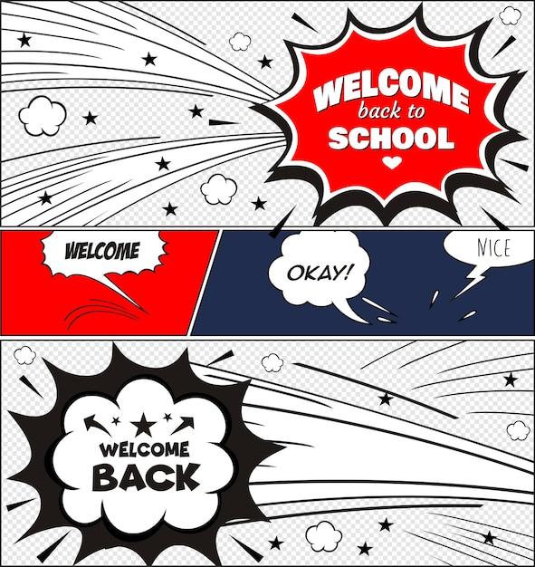 Texte à l'école. dans le style des bandes dessinées de coloré Vecteur Premium