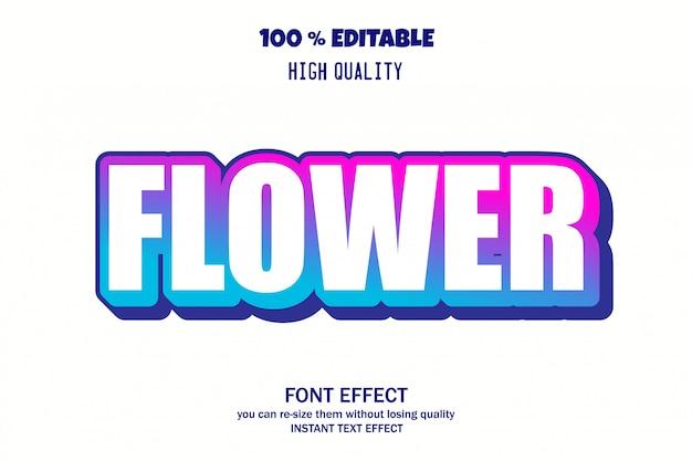 Texte de fleurs, effet de police modifiable Vecteur Premium