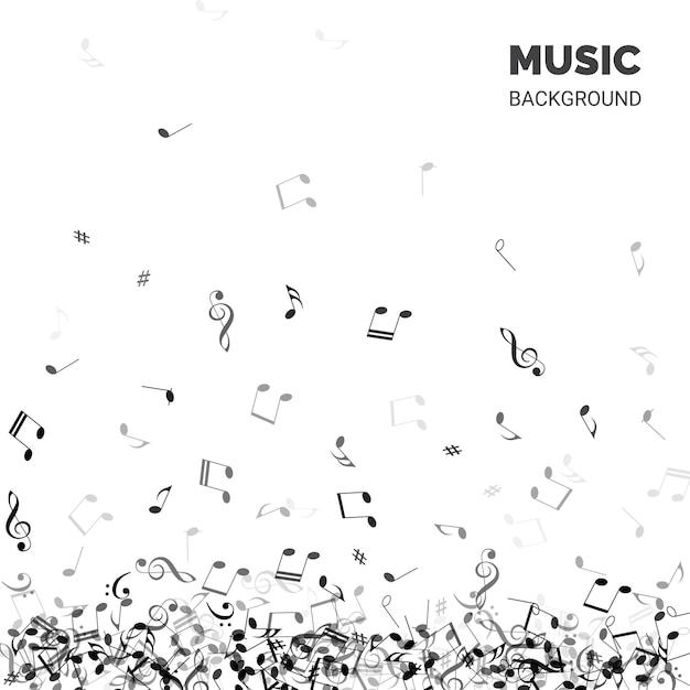 Texte De Fond De Musique Avec Des Notes Qui Tombent Vecteur Premium