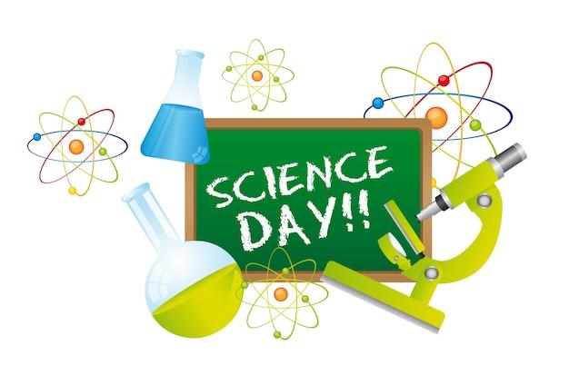 Texte de la journée de la science au tableau Vecteur Premium
