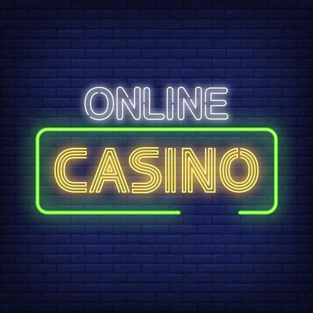 Texte de néon de casino en ligne dans le cadre Vecteur gratuit