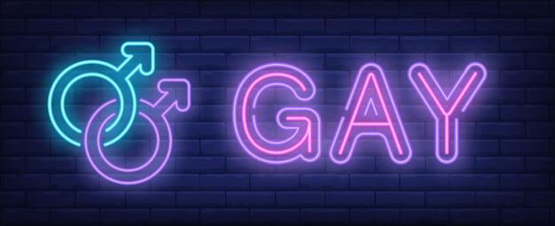 Texte néon gay avec deux symboles de sexe masculin couplés Vecteur gratuit