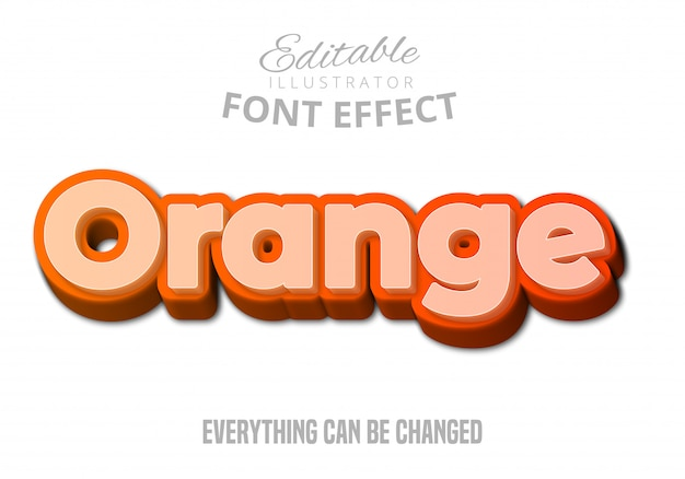 Texte Orange, Effet De Police Modifiable Vecteur Premium