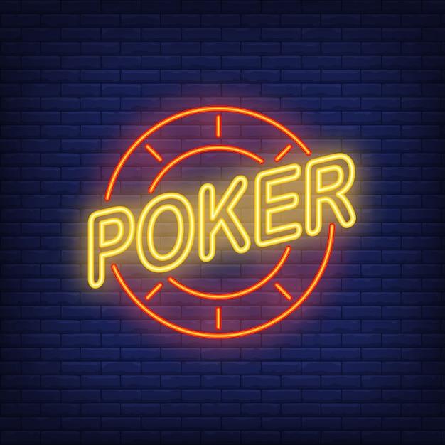 Texte de poker et jeton de casino. icône de néon sur fond de briques. Vecteur gratuit