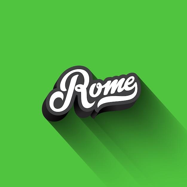 Texte De Rome Calligraphie Lettrage Rétro Vintage. Vecteur gratuit