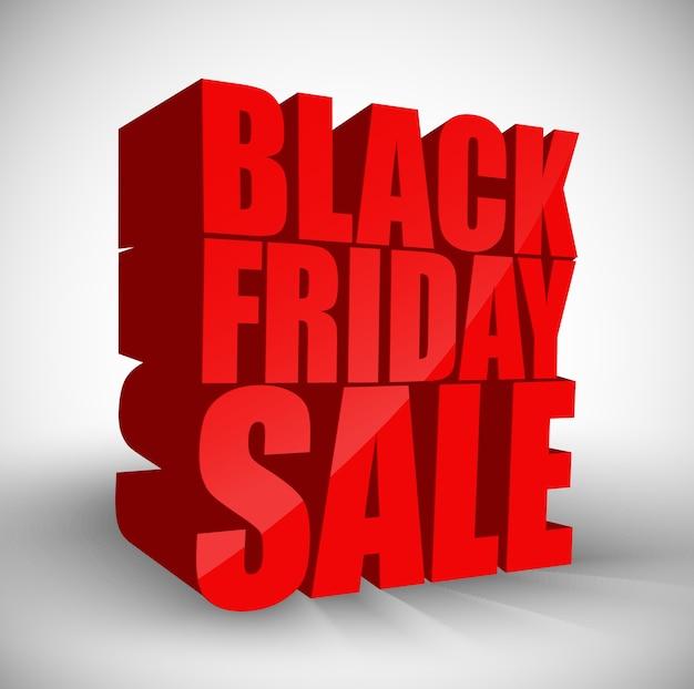 Texte rouge 3d vendredi noir isolé fond de vente Vecteur Premium