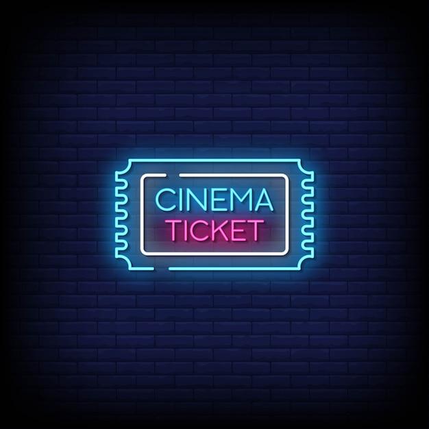 Texte De Style D'enseignes Au Néon De Billet De Cinéma Vecteur Premium