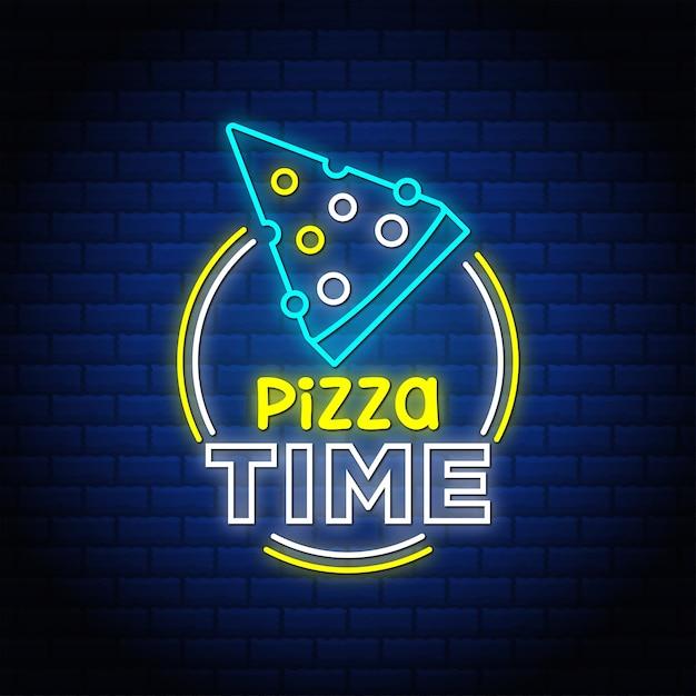 Texte De Style Enseignes Au Néon De Temps De Pizza. Vecteur Premium