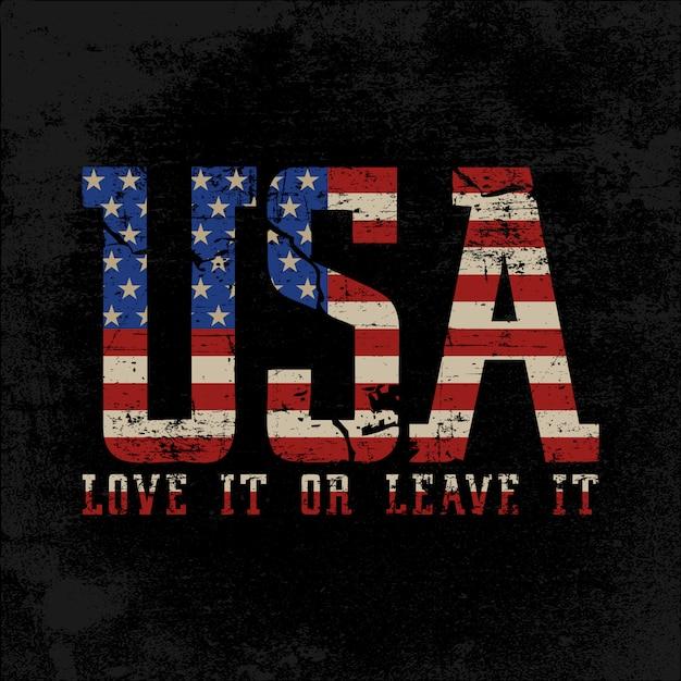 Texte de style grunge usa avec drapeau américain à l'intérieur Vecteur Premium