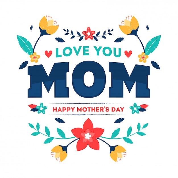 Texte de typographie de love you mom Vecteur Premium