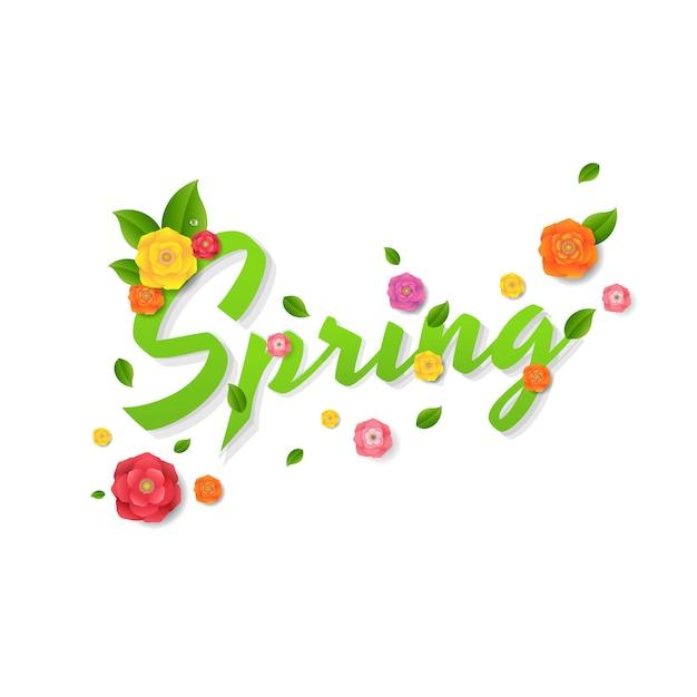 Texte de vente de printemps Vecteur Premium