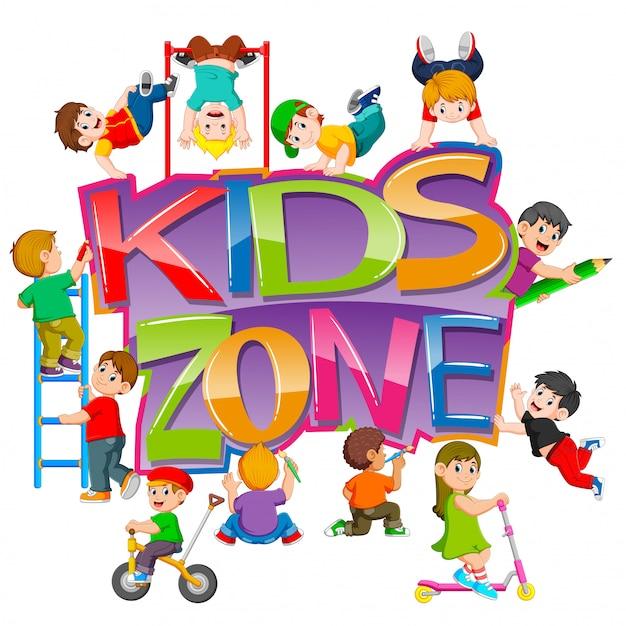 Le texte de la zone enfants avec les enfants qui jouent autour Vecteur Premium