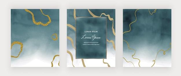 Texture Aquarelle Bleue Avec Des Lignes à Main Levée De Paillettes Dorées Et Cadre Vecteur Premium