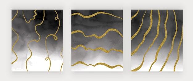 Texture Aquarelle Noire Avec Des Lignes à Main Levée De Paillettes Dorées Vecteur Premium