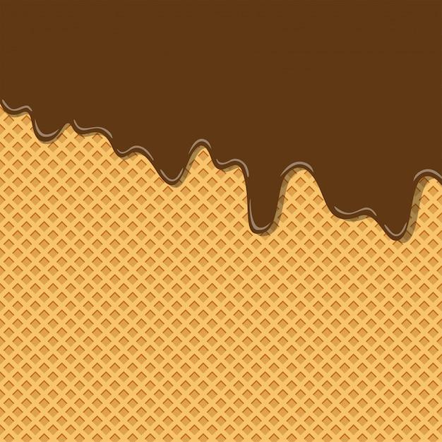 Texture de crème glacée saveur crème au chocolat cacao doux amer sur motif de fond de plaquette Vecteur Premium