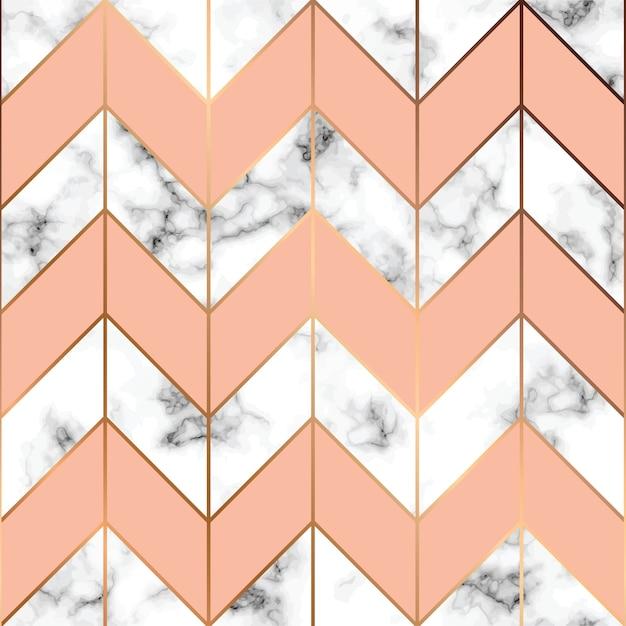 texture de marbre, modèle sans couture avec des lignes géométriques dorées Vecteur gratuit