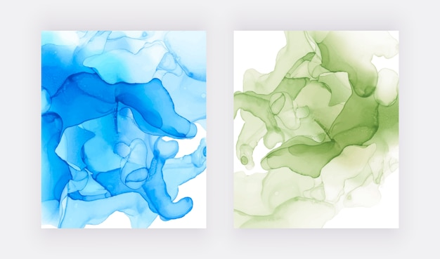 Texture D'encre D'alcool. Abstrait Bleu Et Vert Peint à La Main. Vecteur Premium