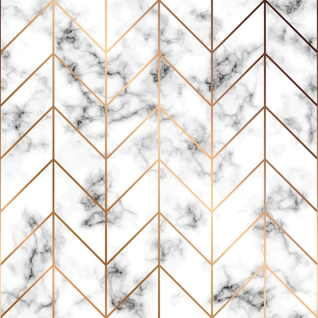 Texture De Marbre, Modèle Sans Couture Avec Des Lignes Géométriques Dorées Vecteur Premium