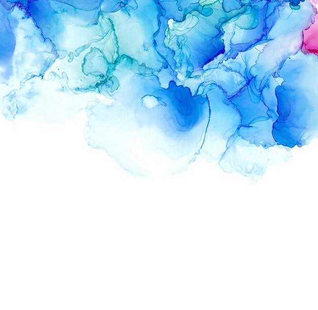 Texture De Mer Encre Alcool. Abstrait D'encre Fluide. Fond De Peinture Abstraite Colorée Vecteur Premium