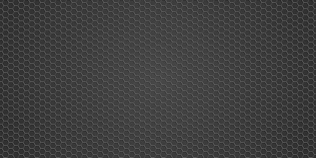 Texture Métallique - Fond De Grille En Métal, Hexagone De Fond De Texture Noire Vecteur Premium