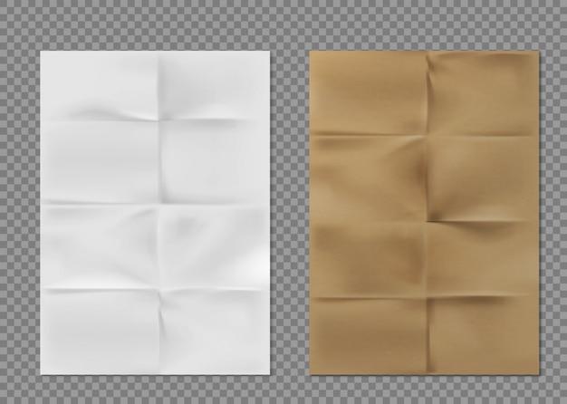 Texture De Papier Froissé Feuilles De Kraft Brun Blanc Vecteur gratuit