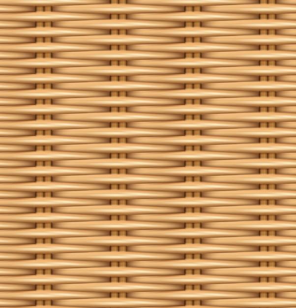 Texture Réaliste De Modèle Sans Couture De Rotin Tissé. Vecteur Premium