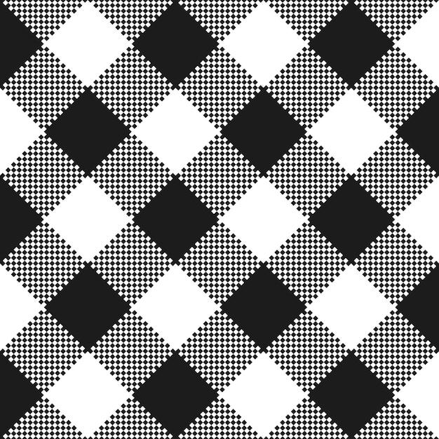 Texture De Tissu Noir Et Blanc. Motif De Nappe Plate. Vecteur Premium