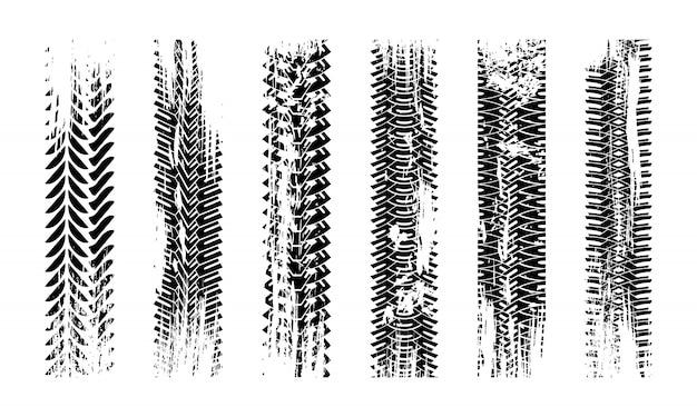 Texture De Traces De Pneu Grunge. Modèle De Pneu Sans Couture De Collection. Image Détaillée Du Protecteur De Pistes. Vecteur Premium