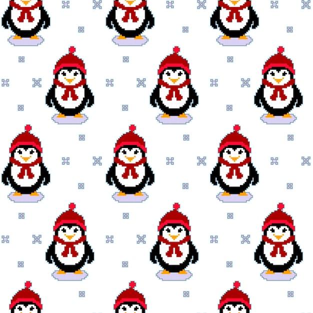 Texture transparente motif avec des pingouins de pixel art Vecteur Premium