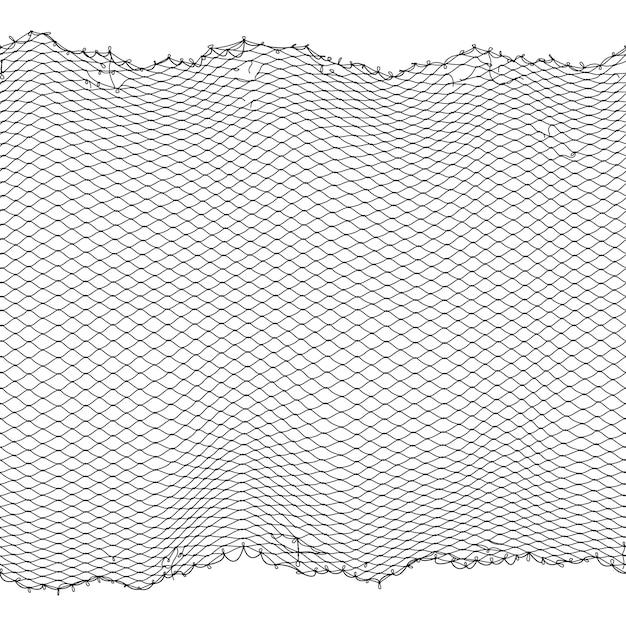Texture transparente de pêcheur noir corde net Vecteur Premium
