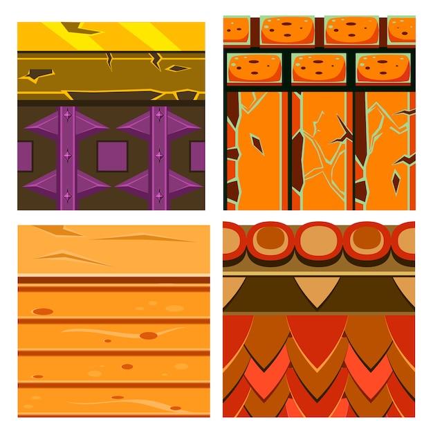 Textures Pour Plateformes Avec Bois Et Briques Vecteur Premium