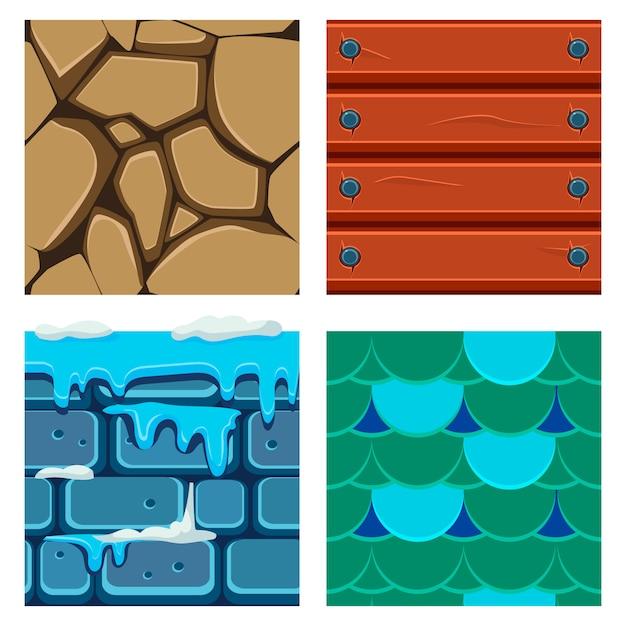 Textures Pour Platformers Ensemble De Bois, échelle Et Briques Vecteur Premium