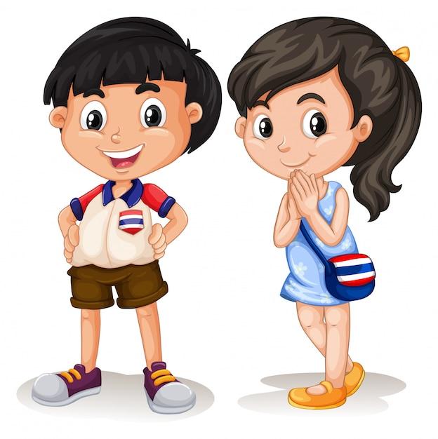 Thai Garçon Et Fille Souriant Vecteur gratuit