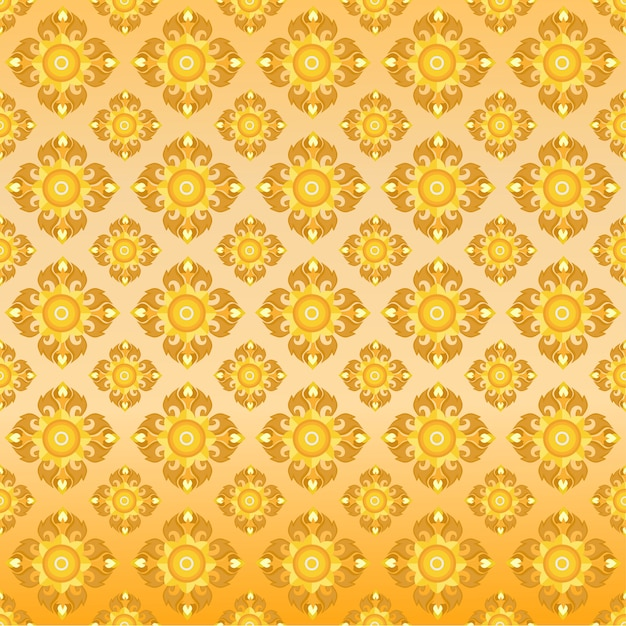 Thai Oriental Golden Seamless Pattern Vecteur Premium