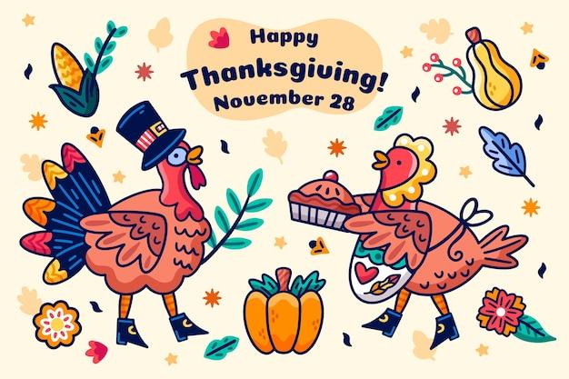 Thanksgiving arrière-plan dessiné à la main Vecteur gratuit