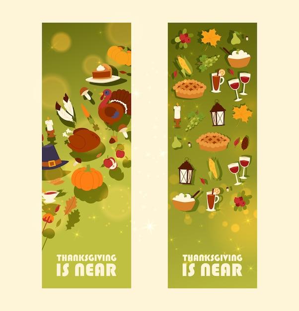 Thanksgiving est presque un ensemble de bannière avec une traditionnelle dinde rôtie et une tarte aux fruits, une récolte de citrouille ou de maïs et des champignons Vecteur Premium