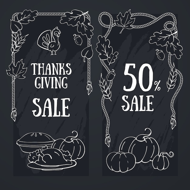 Thanksgiving Tableau Bannière Dessinée à La Main Pour La Fête De La Récolte De Thanksgiving. Vecteur Premium